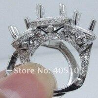 оптовая три камни солид 14 карат белое золото бриллиантовое обручальное кольцо полу маунт
