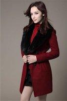6882 # новый осень и зима пальто куртки меховой грудь женская грудь стоит грудь тонкий пальто длинный участок