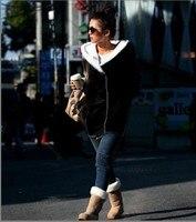 корея женская худи пальто теплый застегивать 2 цвета черный серый бесплатная доставка