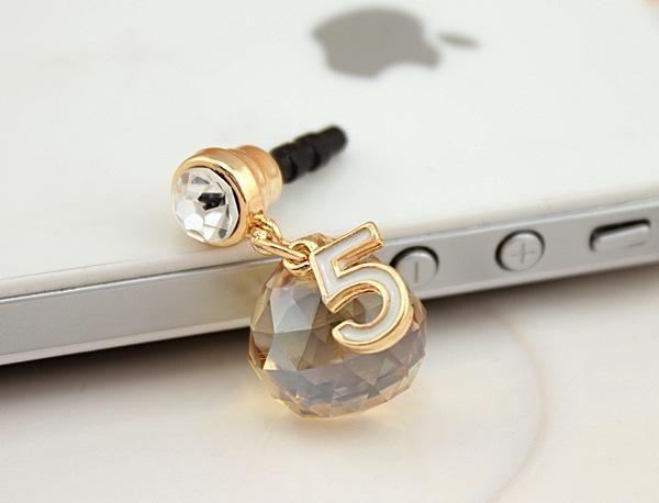 новый бесплатная доставка прозрачный телефон ремешки мода земля мульти-ломтик кристалл пыли плагин капли ювелирные изделия