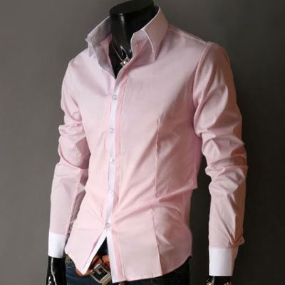 New Mens long sleeve Dress Shirts Slim Fit Patched Casual Shirts ...