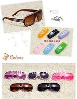 последние полоса большая оправа анти-уф дети солнцезащитные очки солнцезащитные очки с очки ткань и коробка 5 цветов 10 шт./лот бесплатная доставка