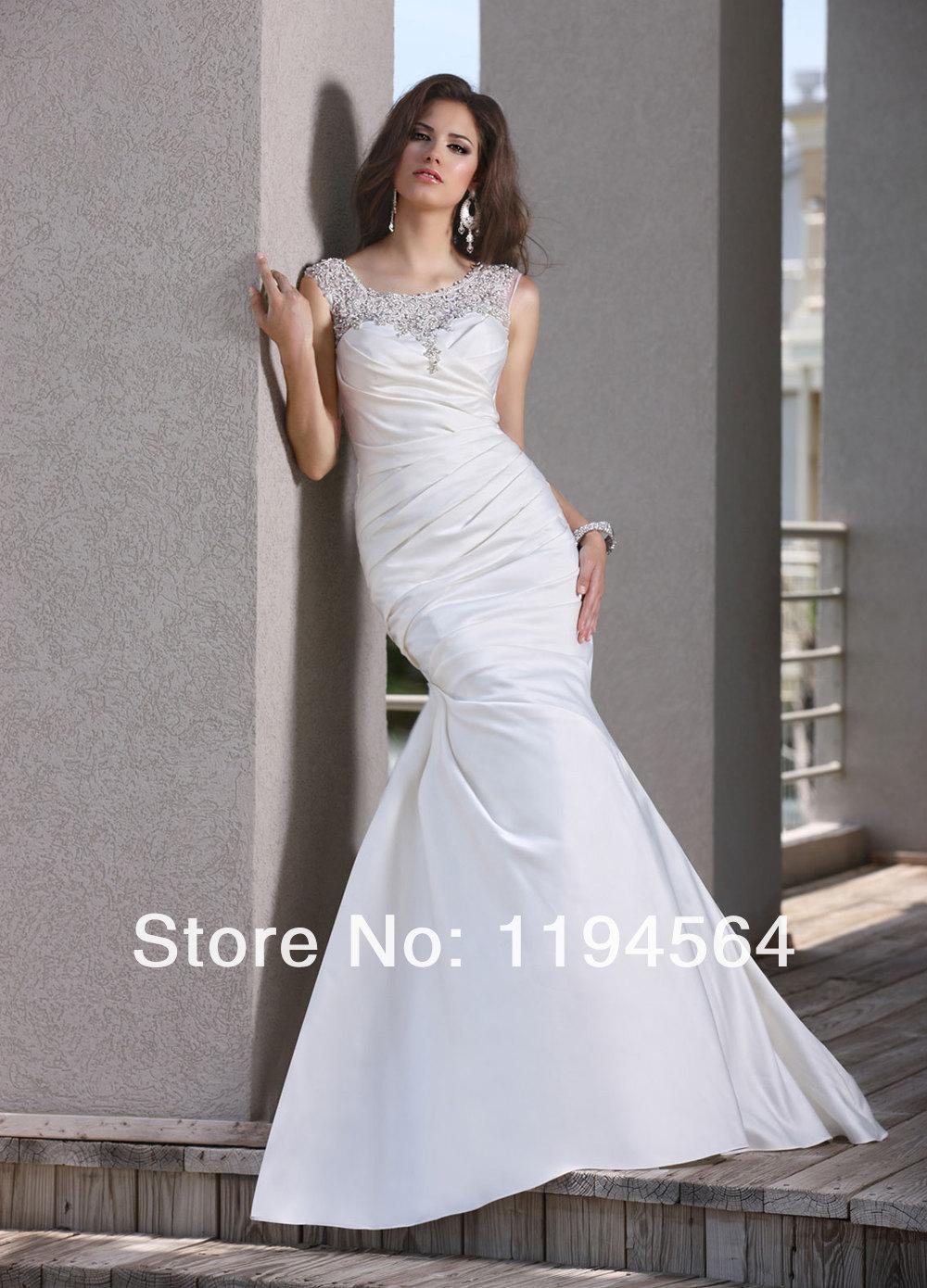Appliques and Beaded See Through Wedding Reception Dress Fashion 2014 White  Mermaid Taffeta Bridal Gowns Free Shipping WH1298 . ... 67adbc3f5b78