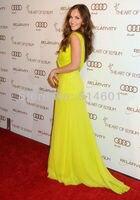 минка келли с V-образным вырезом длиной до пола рюшами из шифона желтый знаменитости платье вечернее платье красный ковер платье