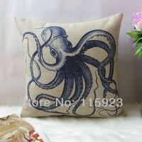 горячая staring домашнего декора хлопок белье синий осьминог океан шаблон декоративные диван чехол 18