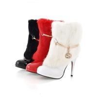 женщин дамы сексуальные туфли на каблуке кролика средний-икры сапоги обувь # Б-1