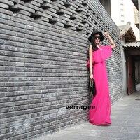 новый Европа стиль женская мода одно плечо Sword повар макси длиной до пола платье с Baby рукава, бесплатная доставка