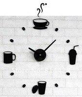 бесплатная доставка стиль кофе время поделки наклейки на стену МСП часы предметы украшения дома зрение кухня ресторан