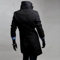 горячая распродажа отложным воротником стойка воротник двубортный мужская куртки тонкий подходят пальто длинное плащ outcoat