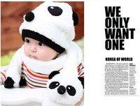 бесплатная доставка специальные предложения! горячие дети шляпа 100% шерсть шляпа + шарф две кусок установить панда детей крышки животных цоколь зима подарков
