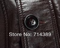 бесплатная доставка горяч-продавать кожаная одежда промывочной воды мужской овчины меховой воротник средней длины - длинное пальто размер от м до с-XXXL осенняя