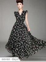 юбку платья новый лето с V-бюстгальтер провода высокая Tale последний рукав визу печать женская длиной макси платье шифоновое платье yr010406ba