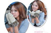 мода женская зимний трикотажные перчатки варежки, бесплатная доставка