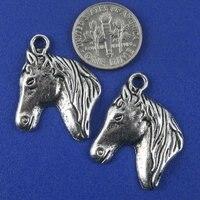 18 шт. staring серебро лошадь день проект подвеска или g1284