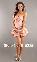 очаровательная принцесса восхитительный платье-линии коктейльные платья платье с V-образным вырезом атласная ткань мини короткая длина ручной работы цветок молния назад розовый