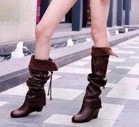 бесплатная доставка по колено ботинки женская мода с коротким зима обувь сексуальная снег теплое длиннее загрузки s445 евро размер 35 - 39