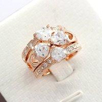 18 к роуз позолоченные ясно кристалл 3 в 1 мода клевер кольцо бесплатная доставка, оптовая продажа мода 2 кольцо сердца и бантом кольцо