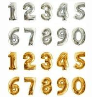 """бесплатная доставка 2 шт. / комплект 16 """" золотой серебро 0 - 9 цифровой рисунок количество Volga доли свадьба на день рождения ну поливать декоративные аксессуары"""