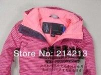 цвет пожарные Европа стиль женщина розовый сноуборд куртки + 2 слои + водонепроницаемый + West + м-хl