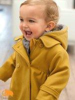 бесплатная доставка +, девочка зима с капюшоном пальто земля желтый высокое качество ветер пальто, девушка верхняя одежда / куртка дети одежды