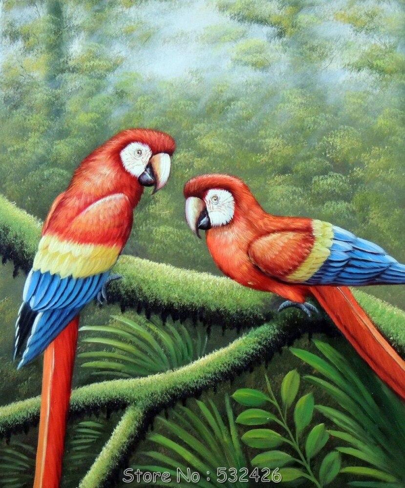 Liar Burung Nuri Hutan Pohon 20 24 Handpainted Lukisan An026