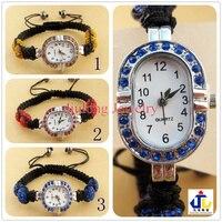 уникальный 12 шт. микро-проложить CZ с кристалл наручные часы с глиной 4 бусины шамбалы браслет оптовая продажа. овальный. красный. бесплатная доставка sw064