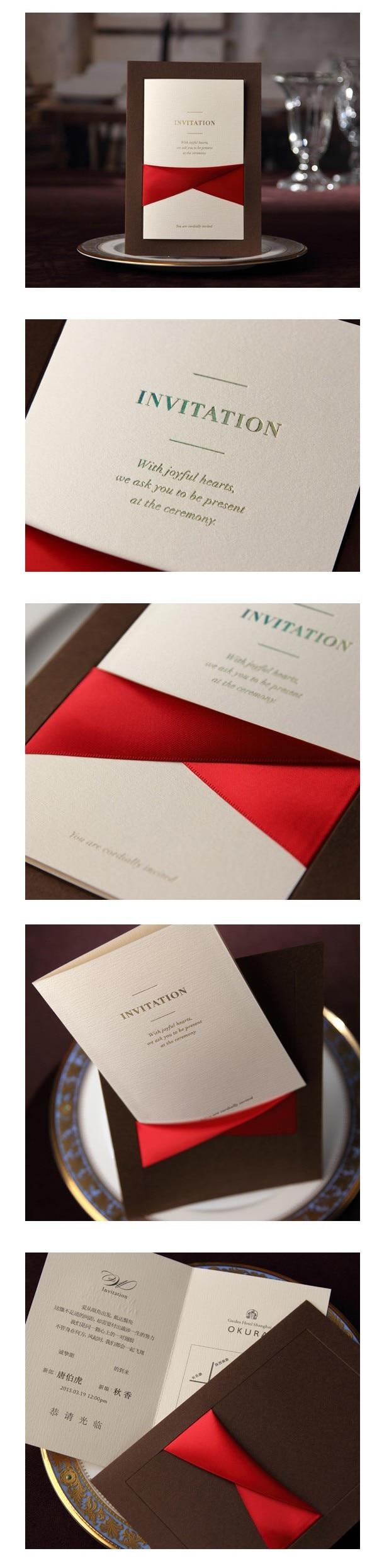 Elegant Coffee Wedding Invitation with luxury Red Ribbon, High ...