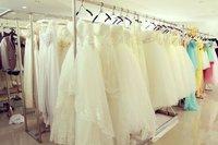 новые широкие рюшами-линии ремни элегантный бисером свадебные платья / / свадебные платья на заказ