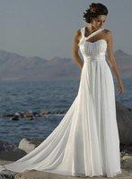 горячая распродажа бесплатная доставка пляжное платье шифон + атласная контракт темперамент свадебные платья любой размер / цвет опт/розница