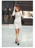 мода платье для женщин большой размер ххl XXXL осенняя Размер 4xl с длинными рукавами о-образным шеи назад элегантный краткое - платье черный бежевый