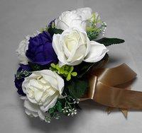 новый! подружек невесты свадьба цветы букет невесты фиолетовый и слоновой кости розы флорист подарки оптовая продажа бесплатная доставка