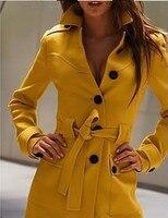 новый после раскола с отложным воротником тонкий полушерстяные пальто для женщин, зимние куртки женская одежда м / L / хl