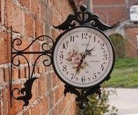 и / европа сад город стиль железо стена часы с двухсторонняя / искусство стена часы