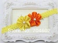 1 частей двойной атлас цветок с жемчуг дети повязка на голову принцесса аксессуары для волос fdb54
