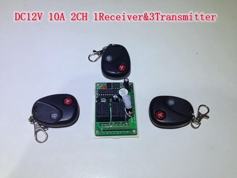 DC12V 10A 2 CH RF Remote Control Light Switch Board Wireless Remote ...