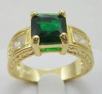 сша размер8 новое мужской / ювелирные изделия великолепная 2.98 карат зеленый изумрудный в 14к желтый золотое кольцо