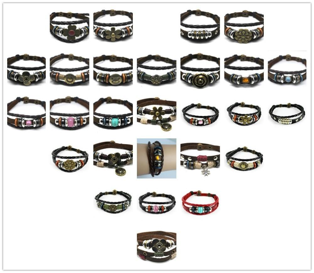 C316 2018 hot sale Fashion Surfer Hemp Leather Multi Wrap Bracelet Mens Womens Handmade Wristband Friendship Gift Free Shipping 4