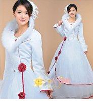 высокое качество свадебное платье длиной до пола платье невесты развертки щетка-поезд рукавов без бретелек с бантом цветок а141