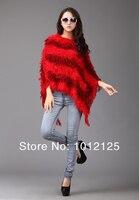 новый мода женщин с V-бюстгальтер провода начать летучая мышь пончо halt зима теплая женский свитер пла пальто широкий SAL