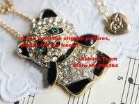 в магазин сакура 12 шт./лот + высокое качество сплава ожерелье + в форме сердца мода ожерелье медведь + медведь колье с золотой цепью