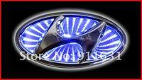 синий 3д значок автомобиля свет, авто эмблема из светодиодов лампы автомобиля Tip свет для Хендай-Элантра / Santa бесплатная доставка