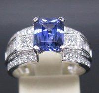 Verde 2.95 карат 14 к белое золото фиолетовый синий прод арендатора кольцо с блестяще