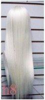 элегантный белый длинная прямой синтетические волосы парик / парики