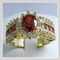 бесплатная доставка! оптовая продажа + asean 14 к желтое золото Рубин кольцо # 8