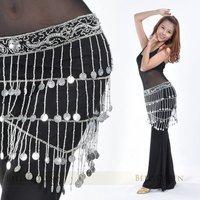 бесплатная доставка танец живота бедра обернуть шарф с 188 pcses серебряные монеты для дамы белый опт и розница