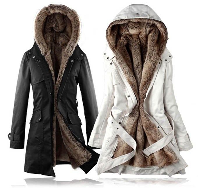 Fashion Women Winter Warm Detachable Faux Fur Lining Long Coat ...