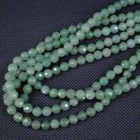 144 частей / серия, натуральная авантюрин зеленый, граненные круг мяч, без тары полудрагоценный камень бусины, размер : 8 мм
