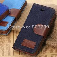 мода джинсы + обвинение кожа карман телефон чехол для iPhone 5 и 5s, с картой-слотов, роса и опт, 1 шт./лот