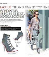 горячая распродажа женская мода ковбой холст загрузки туфли на каблуках загрузки s1103