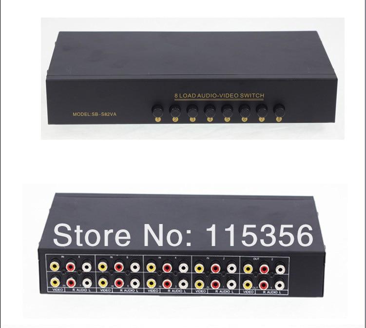 8 Port Input 2 Output Audio Video AV RCA Switch Box 4 Ways